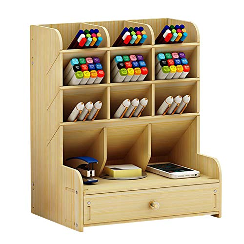 PerGrate 2019 Creative Multi-Function Pen Holder, Office Desk Organizer, Desktop Pen Pencil Holder Container Storage Box Portable with Drawer