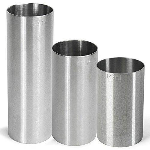 Conjunto de 3 vasos de medición cilíndricos de acero inoxidable de 125...
