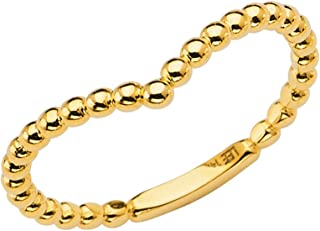 Ioka -14K Solid Yellow OR White OR Rose Gold Simple and Trendy Round Beads V Shape Stackable Band Ring