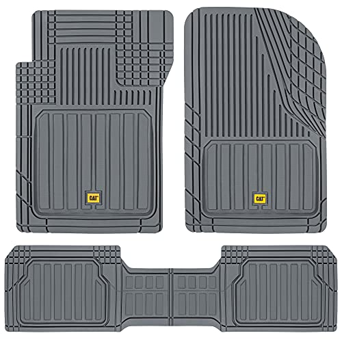 Caterpillar CAMT-8303 Advanced Performance ToughLiner Rubber Car Floor Mats for Auto Truck SUV & Van, Full Custom Trim to Fit Liners, Heavy Duty Odorless All Weather Total Protection, Gray