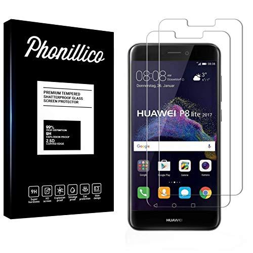 PHONILLICO [Pack de 2] Verre Trempe Huawei P8 Lite 2017 - Film Protection Ecran Verre Trempe [Lot de 2] Vitre Ecran Protecteur Anti Rayure sans Bulle d'Air Dureté 9H Ultra Mince Transparent
