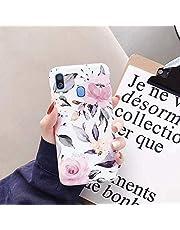 Herbests Compatible para Samsung Galaxy A40 Funda Flores Dibujos Cubierta Ultra Delgado Suave Silicona Funda Caso [Shock-Absorption] TPU Gel Girly Case,Rosa