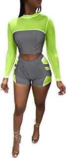 JiherBeauty Womens Sexy Two Piece Outfits Fully Reflective Long Sleeve Mesh Short Pants Jumpsuit Clubwear