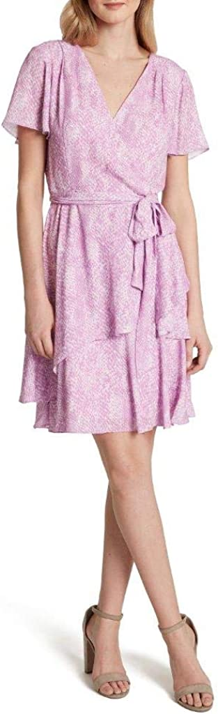 Tahari Atlanta Mall ASL Women's Flutter Sleeve Wrap Tiered Dress Surplus Cheap mail order sales