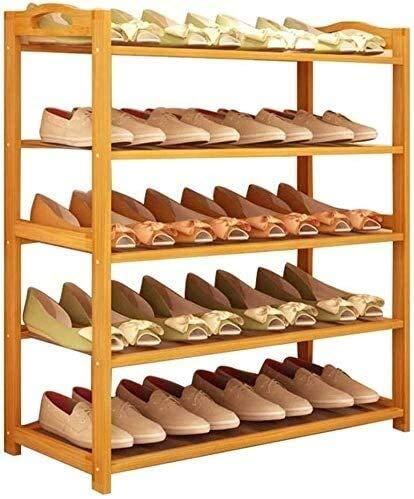 Wddwarmhome Soporte de Almacenamiento de Zapatos Grande apilable Soporte multifunción bambú Estante Fuerte y Duradero para Puerta de Entrada de Entrada 5 Niveles