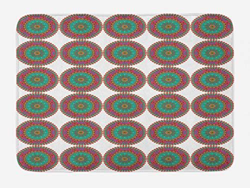 ABAKUHAUS Mandala Azul Tapete para Baño, Colorido Rizado Motif, Decorativo de Felpa Estampada con Dorso Antideslizante, 45 cm x 75 cm, Multicolor