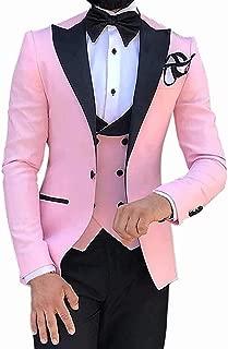 TeaHutty Mens Slim Fit 3 Pieces Suit Solid Business Tuxedo Blazer Formal Wedding Groomsmen Jacket Vest /& Pants