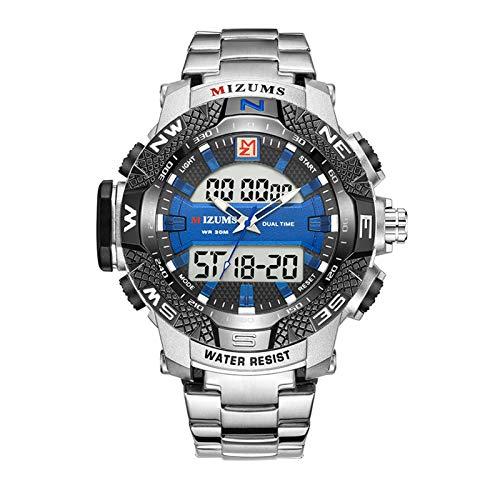 Zwbfu Reloj para Hombre Estuche de aleación de Moda Reloj analógico Digital de Doble Movimiento Reloj Deportivo Cronómetro Impermeable Reloj de Pulsera de Cuarzo