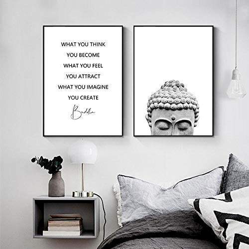 XZRDP Black and White Zen Buddha Head Statue Poster Quotes Canvas Painting Wall Art Picture Home Decor-50x70cmx2 pcs no Frame