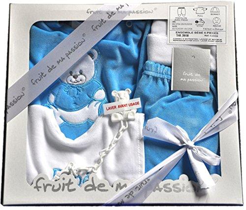 ensemble 5 pièces naissances pour bébé en coffret cadeau cj002 cj002turquoise-ours_Naissance