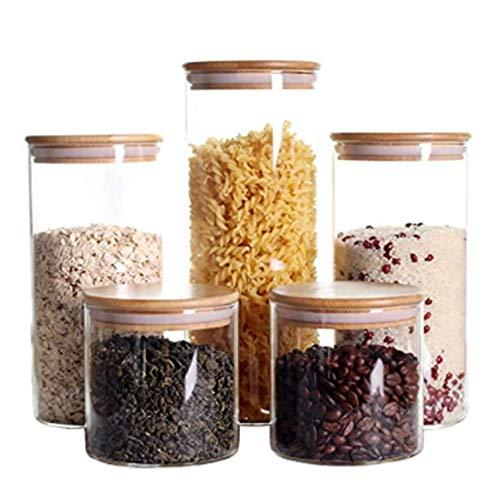 VIVILINEN szklane słoiki do przechowywania z bambusowymi hermetycznymi pokrywkami przezroczyste płatki śniadaniowe kuchnia pojemniki do przechowywania żywności zestaw na kawę, mąkę, cukier, ciasteczka, ryż, makaron, orzechy (przezroczyste, 1800 ml 1300 ml * 2 750 ml * 2)