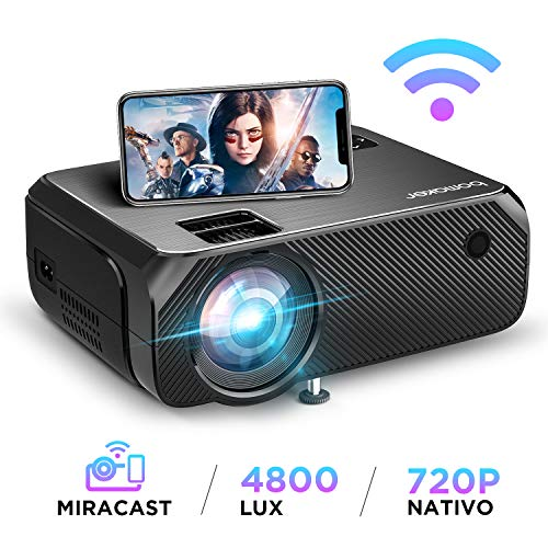 Proiettore WiFi, BOMAKER Videoproiettore Wifi Wireless, 4800 Lumen, Risoluzione Nativa 1280x720p, Supporto Full HD 1080P, 300'' Display/Andiord /IOS/HDMI/VGA/SD/AV/USB per Home Cinema e All'aperto