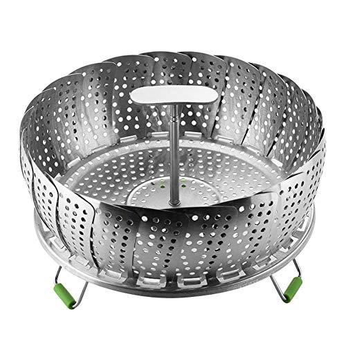 Savlot Steamer Inserts, Steamer Basket Dampfgarer 11 Zoll Edelstahl Klapp Gemüsedampfer Fit Verschiedene Topf Schnellkochtopf