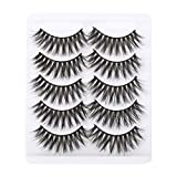 False Eyelashes, 5 Pairs 3D Eyelashes Artificial Natural Black Long Pure Handmade with Invisible Band Reusable (A3)