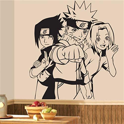 EASTVAPS Anime Wall Stickers Naruto Uzumaki Card Captor Sakura Calcomanías Uchiha Sasuke Decoración de Pared 67X63cm