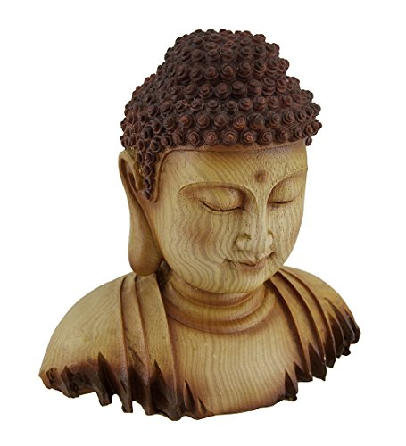 Zeckos Meditating Buddha Head Decorative Faux Carved Wood Look Statue