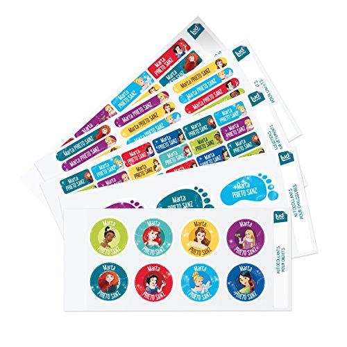 Ludilabel - Pack de etiquetas adhesivas y termoadhesivas personalizadas para el Parvulario - Disney Princesas