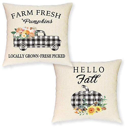 JYNHOOR Set of 2 Fall Pillow Covers –Buffalo Check Pumpkin Truck Pillow Covers for Home Decor-Autumn/Harvest/Farmhouse Decorative Pillow Cover 18x18 Inch