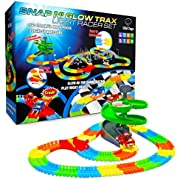 USA Toyz Glow Race Tracks for Boys or Girls - 360pk Glow in The Dark Flexible Rainbow Race Track Set w/ 2 Light Up Toy Cars and Ramp Set