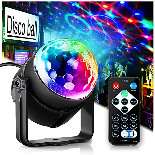 top rated Party light Disco ball Disco light, TONGK 7 colors Dj lighting LED strobe sound operation … 2020