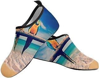 INTERESTPRINT Mens Water Sports Shoes Tribal Peacock Feather Barefoot Shoes Beach Aqua Socks