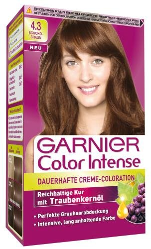 Garnier Color Intense Dauerhafte Creme-Coloration 4.3 Schokobraun, 2er Pack (2 x 1 Stück)