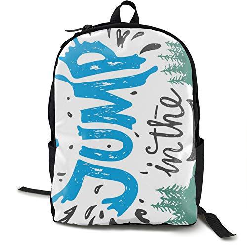 Go Jump In The Lake Backpack Shoulders Bag Travelling Knapsack Portable