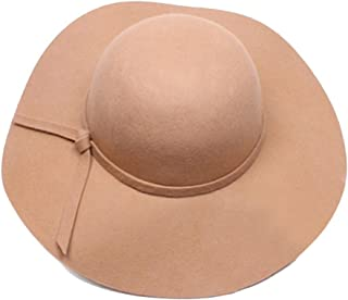 Dis_show Women Retro Wool Blend Sun Hat Floppy Wide Brim Summer Beach Hat