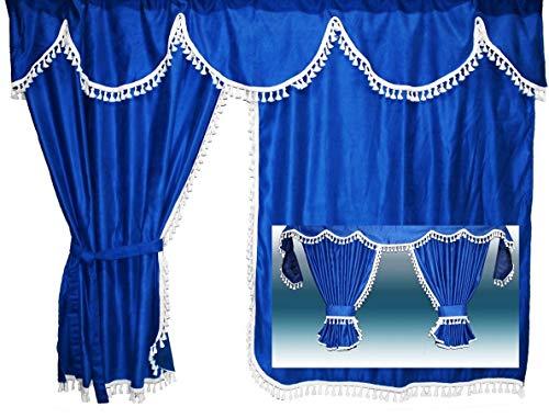 Adomo LKW Gardinen mit Bettvorhang für TGX XLX Fahrerhaus, blau-weiß, 4cm.Fransen