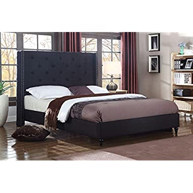 LIFE Home Premiere Classics Cloth Black Linen 51  Tall Headboard Platform Bed with Slats Queen - Complete Bed 5 Year Warranty Included