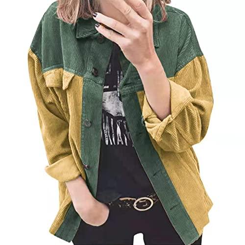 SLYZ Chaquetas De Mujer De Otoño Invierno Camisas Informales De Pana con Botonadura Sencilla para Mujer Tops con Bloques De Color para Mujer