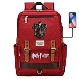 ANCHANG Mochila escolar para adolescentes, mochila Harry Magic Potter, Hogwarts / Gryffindor / Slytherin / Ravenclaw Badge Bookbag Gryffindor Red