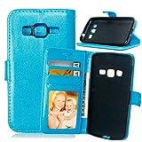 Fatcatparadise Funda para Samsung Galaxy Core Prime G360 [con Protector Pantalla], Carcasa con Tapa Flip Case Magnético Parachoques Golpes Cartera Billetera PU Cuero Suave Case Cover (Azul)
