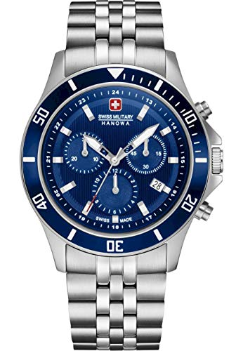 swiss military hanowa Unisex Erwachsene Analog Quarz Uhr mit Edelstahl Armband 06-5331.04.003