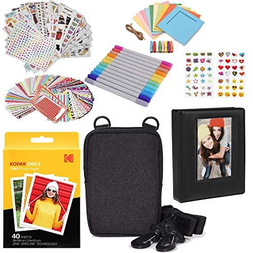 Kodak 3 x 4 Pulgadas Premium Zink Papel fotográfico (Paquete de 40) Kit de Accesorios con álbum de Fotos, Estuche, Pegatinas, marcadores