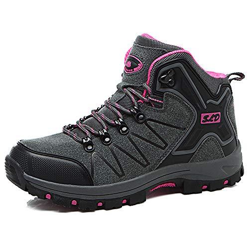 [TONGYANWUJI] トレッキングシューズ メンズ レディース ハイカット 軽量 ハイキングシューズ 厚い底 暖かい 防滑 登山靴 ハイシューズ 耐摩耗性 アウトドア スエード ハイシューズ ウォーキングシューズ 男女兼用 大きいサイズ (24.5cm, ピンク)