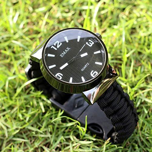 Survival Survival Bracelet Watch, Kits De Survie 7 en 1, Outils avec Corde, Sifflet, Boussole, Allume-Feu, Couteau d'urgence, Randonnée, Camping, Chasse,B