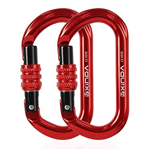 XINDA Climbing Carabiner Clip-Locking Oval twistlock Carabiners Heavy Duty 25KN(5500lb) for Rappelling Hammock Camping(2 pcs Red screwgate)