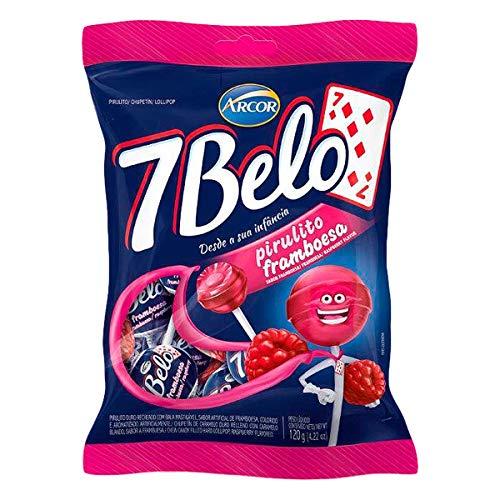 Arcor  7 Belo  Hard lollipop Filled With Chew Candy Raspberry Flavored  423 Oz PACK OF 2 | Pirulito Duro Recheado Com Bala Mastigável Sabor Framboesa  120g