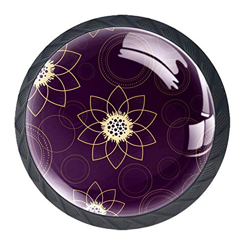 Psychedelic Flower Ring Drawer Knob with Screws Cabinet Drawer Pull Handle 4PCS for Home,Office