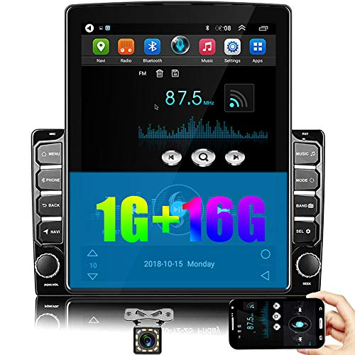 CAMECHO Android Car Radio Double Din 9.7'' Vertical Screen Car Stereo with Bluetooth Quad Cord 1GB 16GB Support GPS/FM/Mirror Link for iOS&Android Phone Link+Rear View Camera