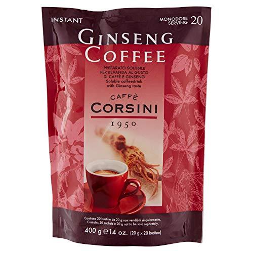 Caffè Corsini Caffè Solubile al Ginseng in Polvere, Gusto Dolce e Facile da Preparare nei Luoghi di Lavoro o Studio 3 Confezioni da 20 Bustine da 20 gr