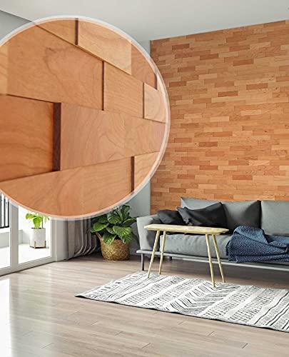 wodewa Revêtement Mural Bois 3D Cerise 1m² Parement Bois Lambris Bois Plaquette de Parement Bois Intérieur Panneaux Muraux decoration murale interieur