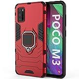 TANYO Funda para Xiaomi Poco M3, Carcasa TPU/PC Hybrid Case con 360° Soporte, Robusta Silicona Estuche, Antigolpes Cover Caso Rojo