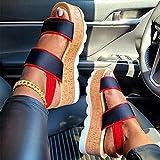 Donna Sandali con Zeppa Plateau Sandali Estivi Donna Sandali con Cinturino alla Caviglia Donna Pantofole Casual Sandali da Mare Piscina Antiscivolo