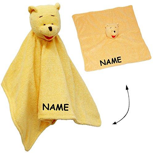 alles-meine.de GmbH Schmusetuch / Schnuffeltuch -  Winnie The Pooh  - incl. Name - Plüschtuch / Schmusetier - Stoff Bär - Stofftier zur Geburt - Nuckeltuch - Puuh - Schmusekiss..