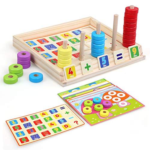 NEWSTYLE Juguetes niños 2 3 4 años, Juguetes Montessori Matematicas, Rompecabezas de Madera Contando Juguetes, Juguetes Educativos, Aprendizaje Preescolar Aritmética para Educación Temprana