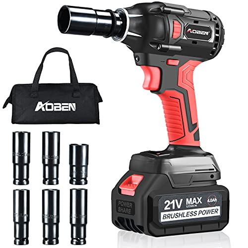 """AOBEN 21V Cordless Impact Wrench Powerful Brushless Motor with 1/2"""" Square Driver, Max 300 Torque ft-lbs (400N.m), 4.0A Li-ion Battery, 6Pcs Driver Impact Sockets,Fast Charger and Tool Bag"""
