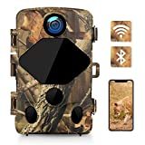 WHOLEV 4K Trail Camera 24MP WiFi Bluetooth Hunting Game Camera with 46 LEDs, Super Night Vision, 0.3s Trigger, 3 PIR 120° Wide Angle, IP66 Waterproof