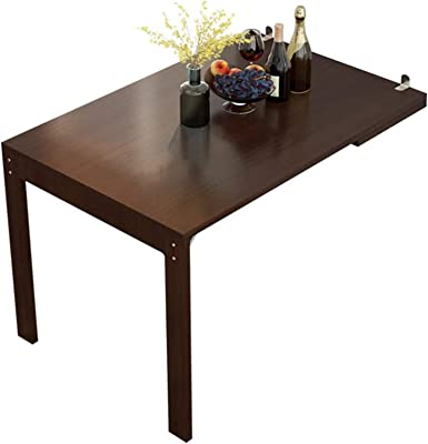 Large Wall Mounted Drop-Leaf Table, Folding Table Kitchen Dining Table Desk Children's Furniture Writing Desk (Walnut Color)